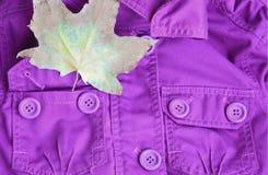 Chaqueta púrpura y una hoja de arce en el bolsillo fotografía de archivo libre de regalías