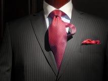 Chaqueta rayada con el lazo rayado rojo Fotografía de archivo