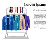 Chaquetas para hombre de la chaqueta cuatro del traje de negocios de diversos colores y tipos lazos beige violetas del verde azul libre illustration