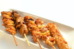 Char-broiled chicken called yakitori Royalty Free Stock Photo