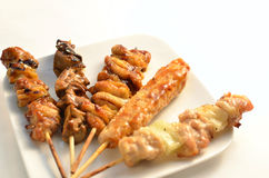 Char-broiled chicken called yakitori.  one of the most popular dishes in Japan Royalty Free Stock Image