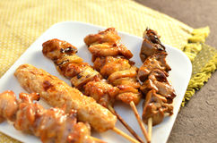Char-broiled chicken called yakitori. Stock Image
