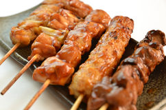 Char-broiled chicken called yakitori. This is a picture of YAKITORI. Famous Japanese dishies. Char-broiled chicken Stock Images