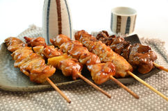 Char-broiled chicken called yakitori Royalty Free Stock Photography