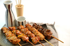 Char-broiled chicken called yakitori Stock Image