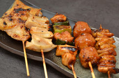 Char-broiled chicken yakitori Royalty Free Stock Photos