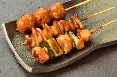 Char-broiled chicken yakitori Stock Images