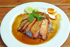 Char siew and roasted pork with rice Stock Photography