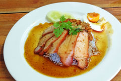 Char siew and roasted pork with rice Royalty Free Stock Photos