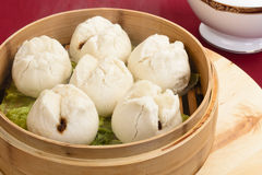 Char Siu Bao. Chinese steamed bun filled with bbq pork - Cantonese Dim Sum stock images