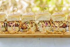 Char Siu Chicken Sliders. Char siu chicken, slaw and dressing on Hawaiian sweet slider buns Royalty Free Stock Photos