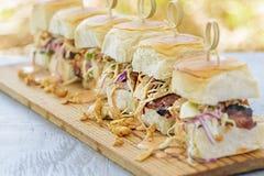Char Siu Chicken Sliders. Char siu chicken, slaw and dressing on Hawaiian sweet slider buns Royalty Free Stock Photo