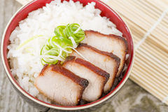 Char Siu Pork. Chinese roasted pork loin served with rice Stock Photos
