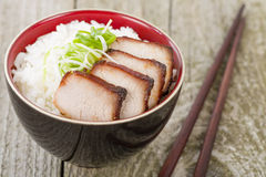 Char Siu Pork. Chinese roasted pork loin served with rice royalty free stock photography