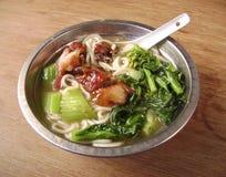 Char siu vegetable noodle soup.  Stock Photos