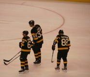 Chara Pastrnak Marchand de los Boston Bruins imagen de archivo
