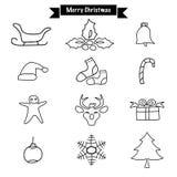 Chara stabilito di progettazione di vettore dell'icona di scarabocchio di Buon Natale del disegno della mano illustrazione di stock