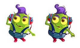 Characres verdes bonitos dos desenhos animados fotos de stock royalty free