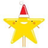 Characte de sorriso de Santa Claus da estrela do Natal dos desenhos animados simples felizes Fotos de Stock Royalty Free