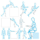 A character in action. Stands, runs, sits, lifts and moves the goods Stock Image