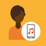 Character afroamerican smartphone music application Stock Photography