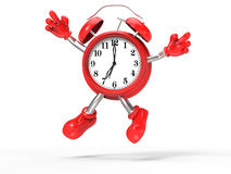 Character alarm clock jump Stock Images