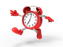 Character alarm clock run. On white background Royalty Free Stock Photos