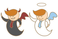 Character of angel and devil Stock Photography