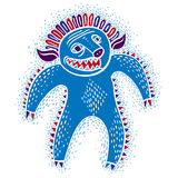 Character angry monster vector flat illustration, cute blue muta Royalty Free Stock Image