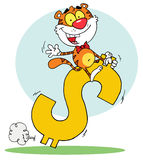 Character animal happy tiger ride dollar Royalty Free Stock Photography