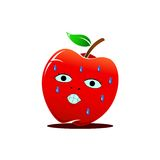 Character Animation Apple. With shocked face Stock Photo