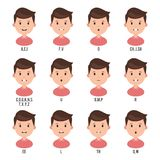 Character animation talk mouth. Male face set mouth sync for sound pronunciation. Vector illustration isolated on white background stock illustration