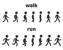 Character animation walk and run cycle vector illustration