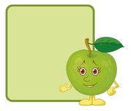 Character apple and poster Stock Photography