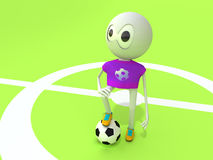 Character and ball. The character on a football ground with a ball Royalty Free Stock Photography