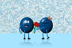 Character ball man giving flowers bouquet to character woman Royalty Free Stock Photography
