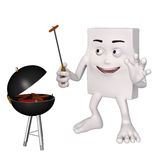 Character barbecuing sausage Stock Photos