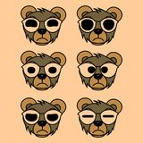 Bear with glasses and big eyes vector illustration