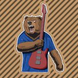 Character bear with a striped guitar in a rage. Vector image vector illustration