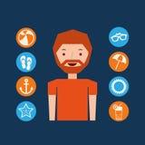 Character beard man summer vacation collection icons Stock Photos