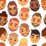 Character bearded man face avatar fashion hipster hairstyle head with mustache vector illustration seamless pattern Stock Photos