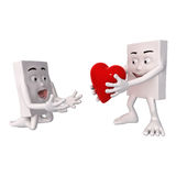 Character begging for a heart Stock Images