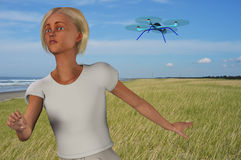 Character being chased by a drone Stock Photos