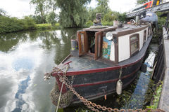 Character boat on the Great river Ouse outside Ely Royalty Free Stock Photography