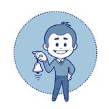 Character boy with bell. Vector illustration Stock Images