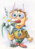 Character Boy with flowers. Painted in watercolor character is a boy holding a flower in her hand Stock Photography