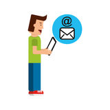 Character boy with tablet email mail Royalty Free Stock Image