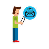 Character boy with tablet email newsletter open envelope Stock Photos
