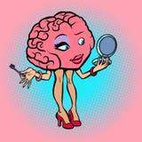 Character brain woman makeup eyelash. Comic book cartoon pop art retro illustration Stock Images