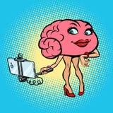 Character brain Woman selfie stick photo. Comic book cartoon pop art retro illustration Royalty Free Stock Photo